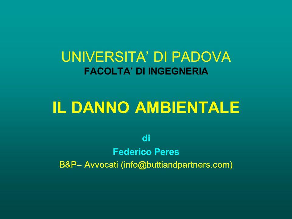 UNIVERSITA' DI PADOVA FACOLTA' DI INGEGNERIA IL DANNO AMBIENTALE di Federico Peres B&P– Avvocati (info@buttiandpartners.com)