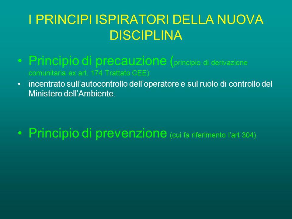 I PRINCIPI ISPIRATORI DELLA NUOVA DISCIPLINA Principio di precauzione ( principio di derivazione comunitaria ex art.