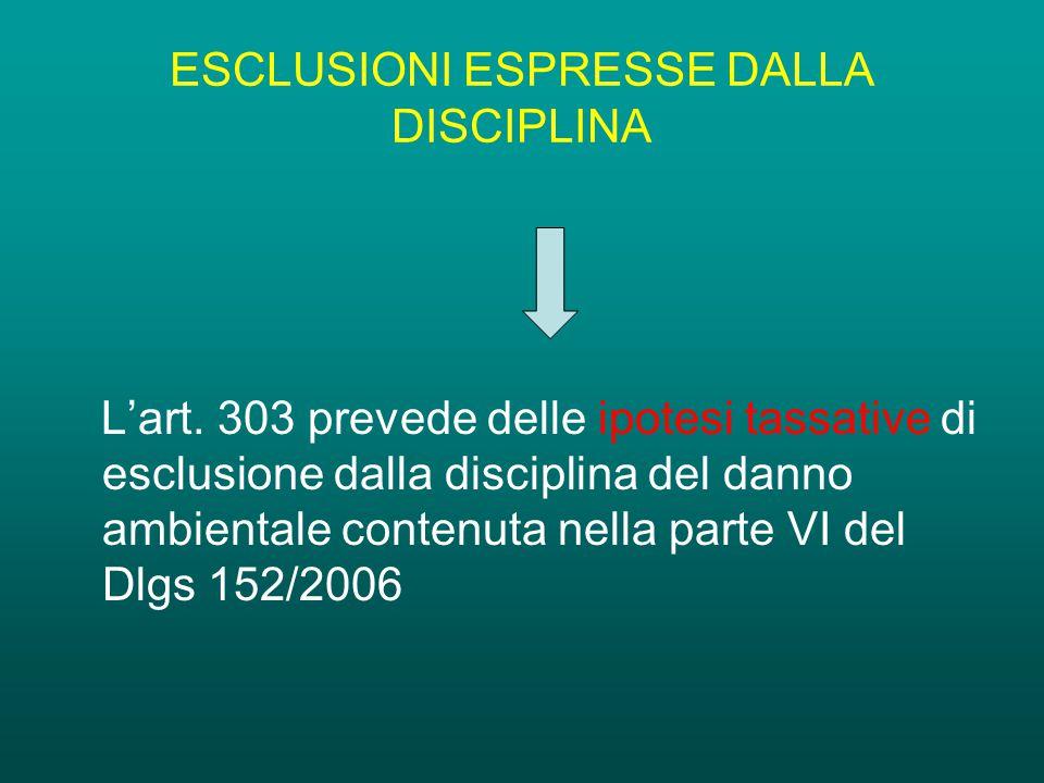 ESCLUSIONI ESPRESSE DALLA DISCIPLINA L'art.