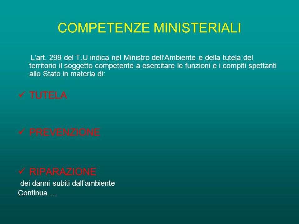 COMPETENZE MINISTERIALI L'art.