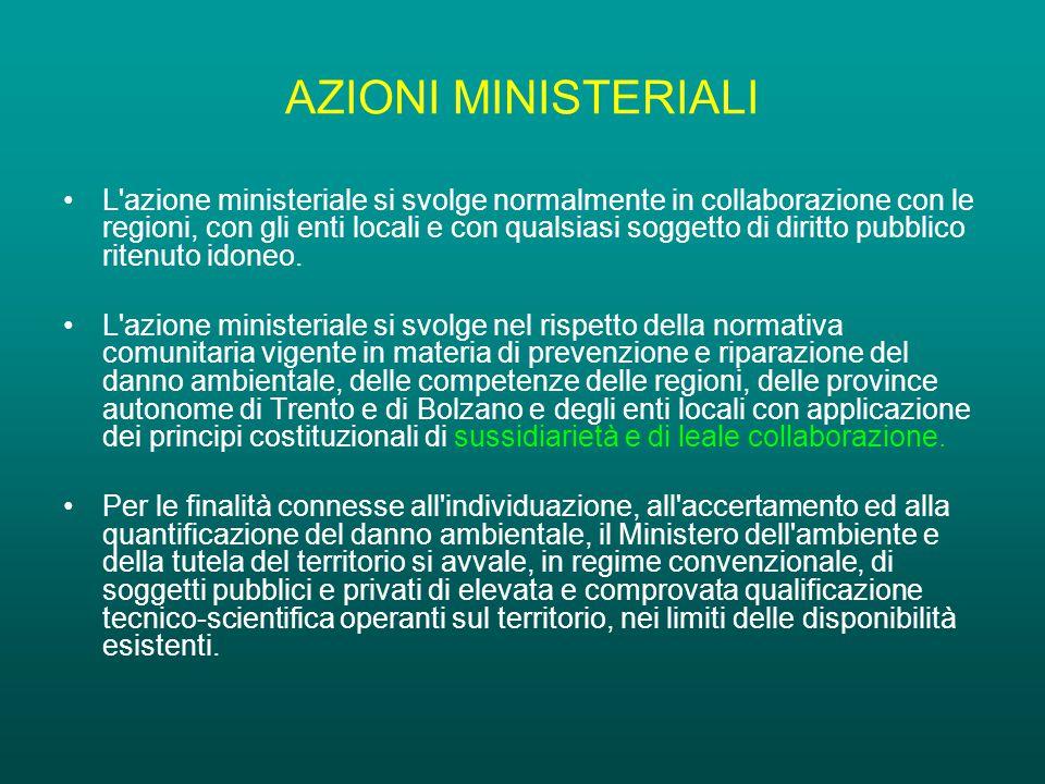 AZIONI MINISTERIALI L azione ministeriale si svolge normalmente in collaborazione con le regioni, con gli enti locali e con qualsiasi soggetto di diritto pubblico ritenuto idoneo.