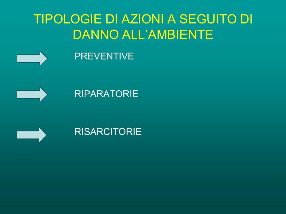TIPOLOGIE DI AZIONI A SEGUITO DI DANNO ALL'AMBIENTE PREVENTIVE RIPARATORIE RISARCITORIE