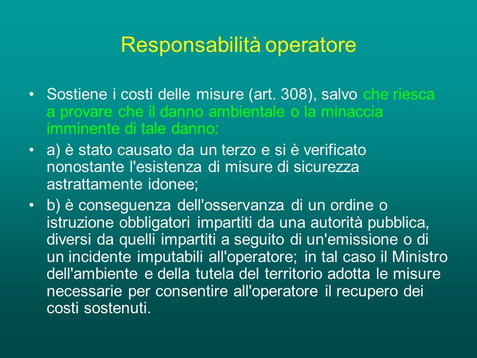 Responsabilità operatore Sostiene i costi delle misure (art.