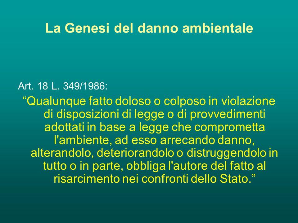 La Genesi del danno ambientale Art. 18 L.