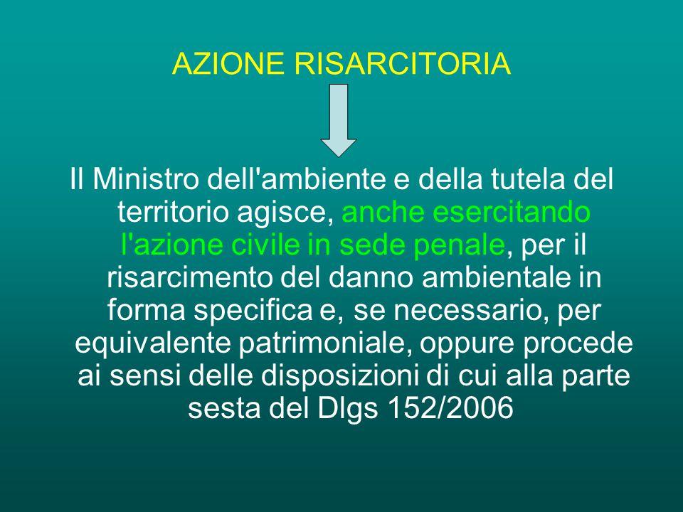 AZIONE RISARCITORIA Il Ministro dell ambiente e della tutela del territorio agisce, anche esercitando l azione civile in sede penale, per il risarcimento del danno ambientale in forma specifica e, se necessario, per equivalente patrimoniale, oppure procede ai sensi delle disposizioni di cui alla parte sesta del Dlgs 152/2006