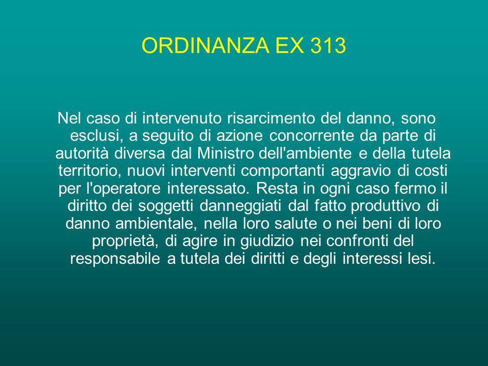 ORDINANZA EX 313 Nel caso di intervenuto risarcimento del danno, sono esclusi, a seguito di azione concorrente da parte di autorità diversa dal Ministro dell ambiente e della tutela territorio, nuovi interventi comportanti aggravio di costi per l operatore interessato.