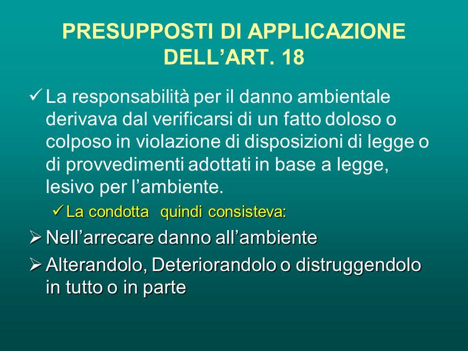 PRESUPPOSTI DI APPLICAZIONE DELL'ART.