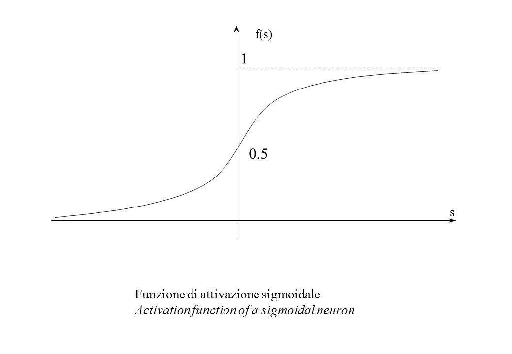s f(s) 1 0.5 Funzione di attivazione sigmoidale Activation function of a sigmoidal neuron