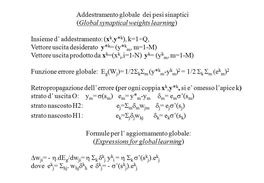 Addestramento globale dei pesi sinaptici (Global synaptical weights learning) Insieme d' addestramento: (x k,y* k ), k=1÷Q, Vettore uscita desiderato y* k = (y* k m, m=1-M) Vettore uscita prodotto da x k =(x k i,i=1-N) y k = (y k m, m=1-M) Funzione errore globale: E g (W j )= 1/2  k  m (y* k m -y k m ) 2 = 1/2  k  m  e k m ) 2 Retropropagazione dell' errore (per ogni coppia x k,y* k, si e' omesso l'apice k) strato d' uscita O: y m =  (s m ) e m =  y* m -y m  m = e m  '(s m ) strato nascosto H2: e j =  m  m w jm  j = e j  '(s j ) strato nascosto H1: e k =  j  j w kj  k = e k  '(s k ) Formule per l' aggiornamento globale: (Expressions for global learning)  w ji = - .dE g /dw ji =  k  k j  y k i =  k  '(s k j ).e k j dove e k j =  hj  w hj  k h e  k j = -  '(s k j ).e k j