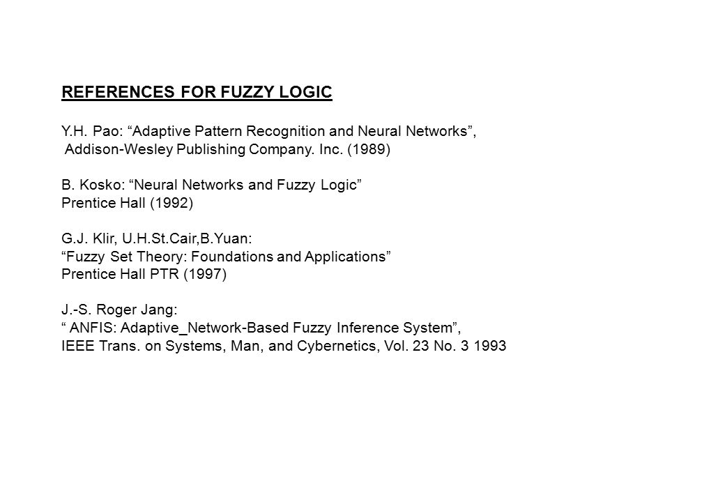 REFERENCES FOR FUZZY LOGIC Y.H.
