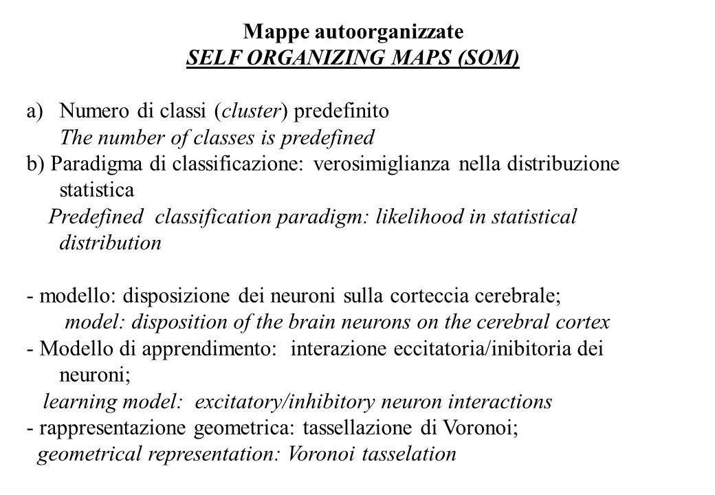 Mappe autoorganizzate SELF ORGANIZING MAPS (SOM) a)Numero di classi (cluster) predefinito The number of classes is predefined b) Paradigma di classificazione: verosimiglianza nella distribuzione statistica Predefined classification paradigm: likelihood in statistical distribution - modello: disposizione dei neuroni sulla corteccia cerebrale; model: disposition of the brain neurons on the cerebral cortex - Modello di apprendimento: interazione eccitatoria/inibitoria dei neuroni; learning model: excitatory/inhibitory neuron interactions - rappresentazione geometrica: tassellazione di Voronoi; geometrical representation: Voronoi tasselation