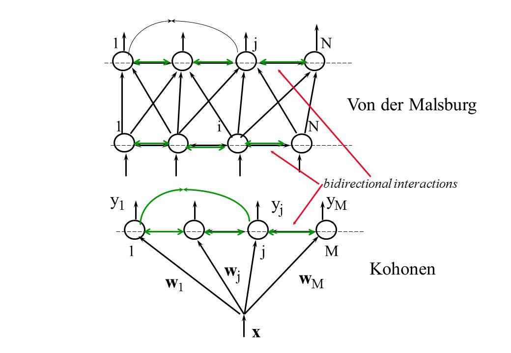 1 i N 1 j N 1 j M x Von der Malsburg Kohonen wjwj w1w1 wMwM yjyj y1y1 yMyM bidirectional interactions