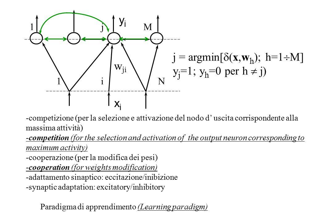 xi xi w ji 1 i N 1 j M yiyi j = argmin[  (x,w h ); h=1  M] y j =1; y h =0 per h  j) -competizione (per la selezione e attivazione del nodo d' uscita corrispondente alla massima attività) -competition (for the selection and activation of the output neuron corresponding to maximum activity) -cooperazione (per la modifica dei pesi) -cooperation (for weights modification) -adattamento sinaptico: eccitazione/inibizione -synaptic adaptation: excitatory/inhibitory Paradigma di apprendimento (Learning paradigm)