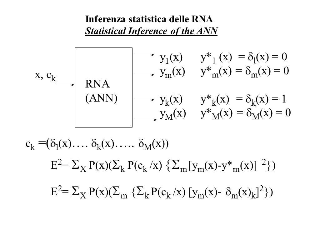 Inferenza statistica delle RNA Statistical Inference of the ANN RNA (ANN) x, c k y 1 (x) y m (x) y k (x) y M (x) E 2 =  X P(x)(  k P(c k /x)  m [y m (x)-y* m (x)] 2 }) E 2 =  X P(x)(  m {  k P(c k /x) [y m (x)-  m (x) k ] 2 }) y* 1 (x) =  l (x) = 0 y* m (x) =  m (x) = 0 y* k (x) =  k (x) = 1 y* M (x) =  M (x) = 0 c k =(  l (x) ….