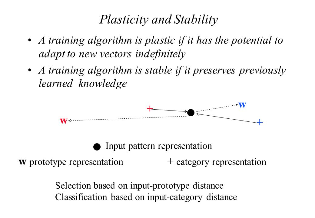 Plasticity and Stability A training algorithm is plastic if it has the potential to adapt to new vectors indefinitely A training algorithm is stable if it preserves previously learned knowledge + category representation w prototype representation Input pattern representation Selection based on input-prototype distance Classification based on input-category distance + w w +