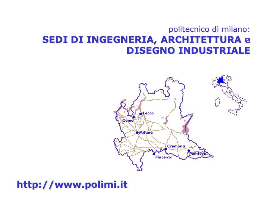 politecnico di milano: SEDI DI INGEGNERIA, ARCHITETTURA e DISEGNO INDUSTRIALE http://www.polimi.it