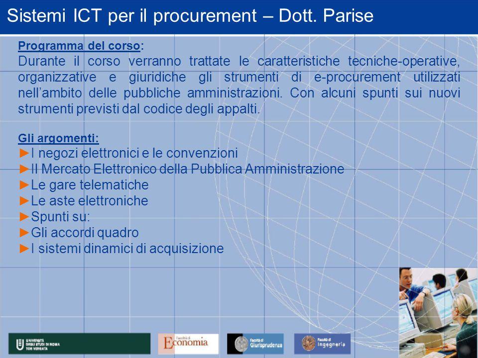 Sistemi ICT per il procurement – Dott.