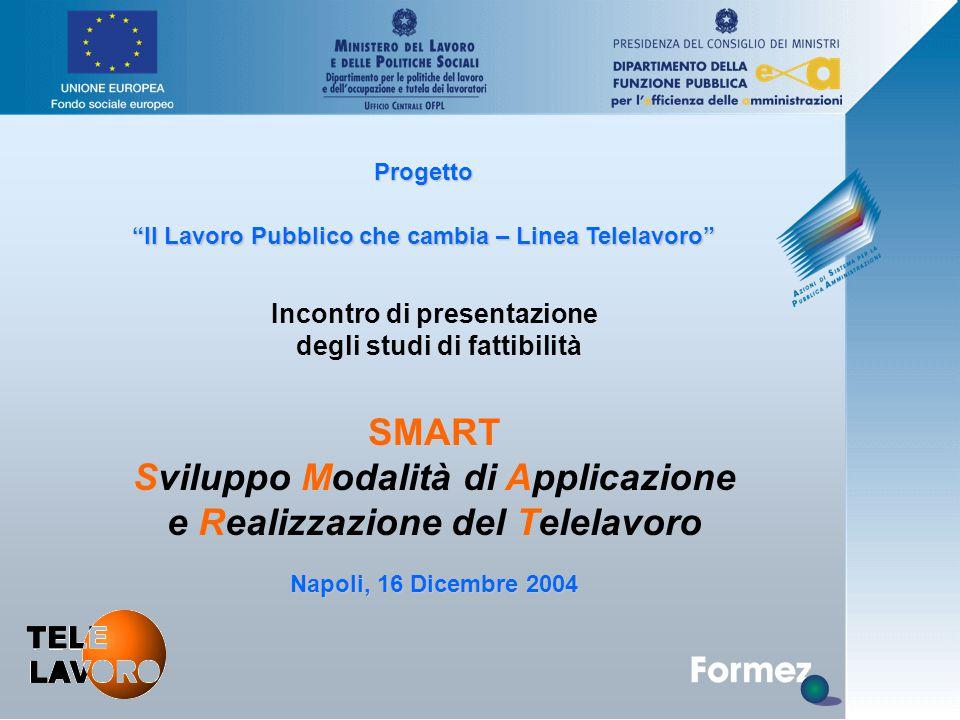 Progetto Il Lavoro Pubblico che cambia – Linea Telelavoro Napoli, 16 Dicembre 2004 Incontro di presentazione degli studi di fattibilità SMART Sviluppo Modalità di Applicazione e Realizzazione del Telelavoro