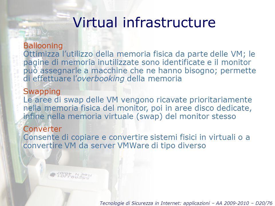 Tecnologie di Sicurezza in Internet: applicazioni – AA 2009-2010 – D20/76 Virtual infrastructure Ballooning Ottimizza l'utilizzo della memoria fisica da parte delle VM; le pagine di memoria inutilizzate sono identificate e il monitor può assegnarle a macchine che ne hanno bisogno; permette di effettuare l'overbooking della memoria Swapping Le aree di swap delle VM vengono ricavate prioritariamente nella memoria fisica del monitor, poi in aree disco dedicate, infine nella memoria virtuale (swap) del monitor stesso Converter Consente di copiare e convertire sistemi fisici in virtuali o a convertire VM da server VMWare di tipo diverso
