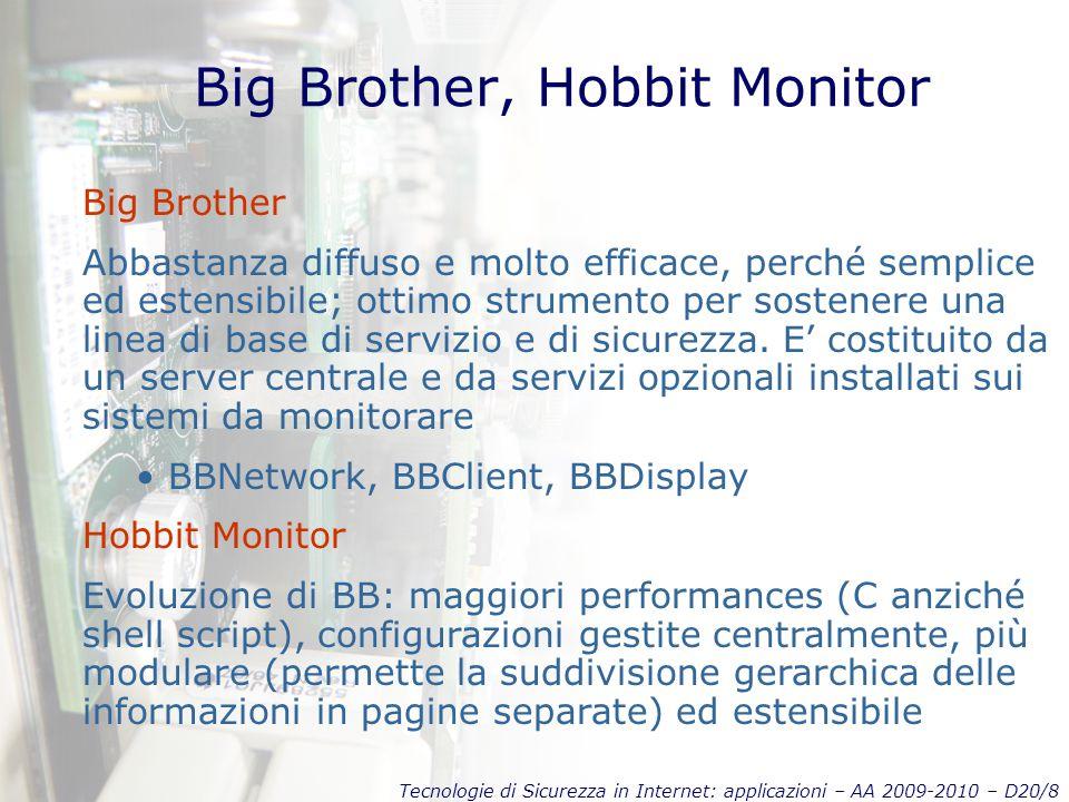 Tecnologie di Sicurezza in Internet: applicazioni – AA 2009-2010 – D20/8 Big Brother, Hobbit Monitor Big Brother Abbastanza diffuso e molto efficace, perché semplice ed estensibile; ottimo strumento per sostenere una linea di base di servizio e di sicurezza.