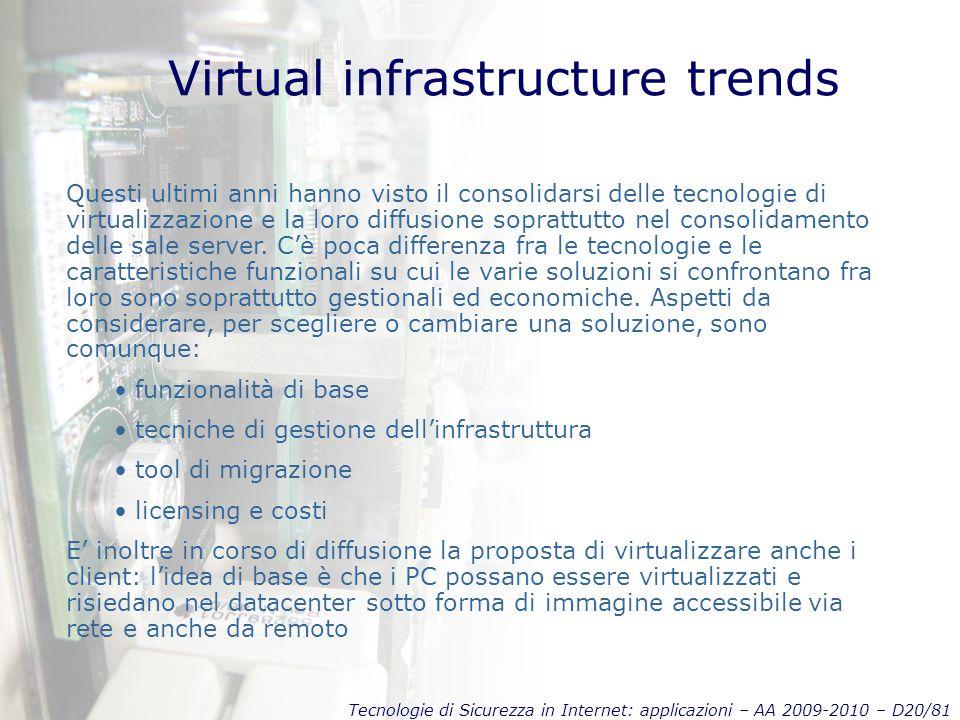 Tecnologie di Sicurezza in Internet: applicazioni – AA 2009-2010 – D20/81 Virtual infrastructure trends Questi ultimi anni hanno visto il consolidarsi delle tecnologie di virtualizzazione e la loro diffusione soprattutto nel consolidamento delle sale server.