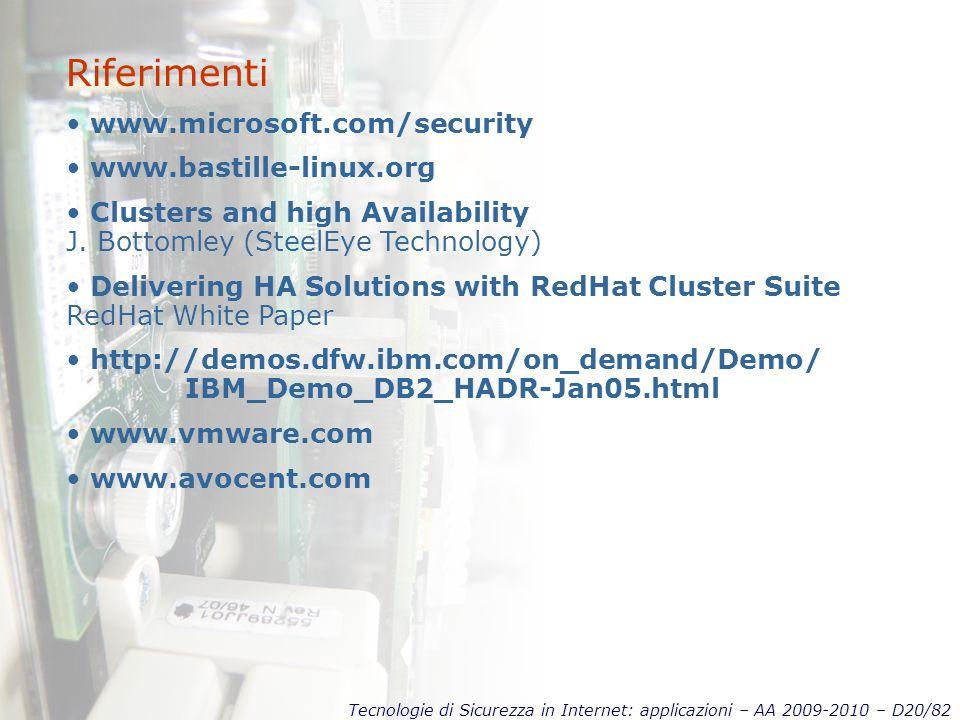 Tecnologie di Sicurezza in Internet: applicazioni – AA 2009-2010 – D20/82 Riferimenti www.microsoft.com/security www.bastille-linux.org Clusters and high Availability J.