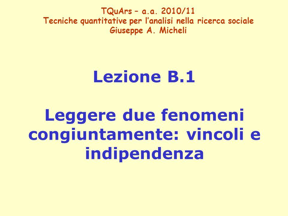TQuArs – a.a. 2010/11 Tecniche quantitative per l'analisi nella ricerca sociale Giuseppe A. Micheli Lezione B.1 Leggere due fenomeni congiuntamente: v
