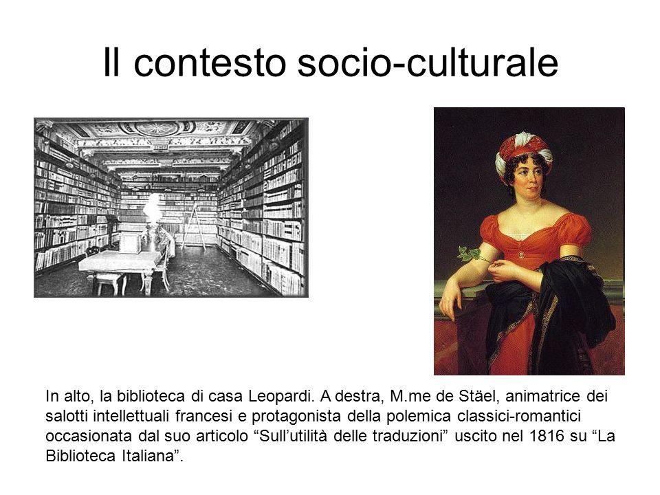 Il contesto socio-culturale In alto, la biblioteca di casa Leopardi.
