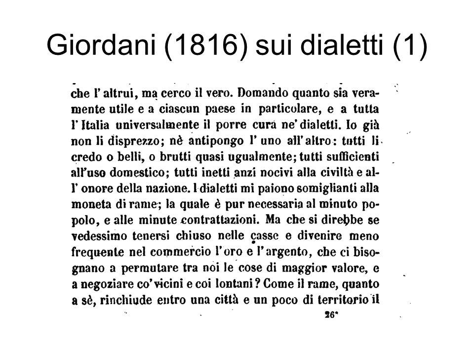 Giordani (1816) sui dialetti (1)