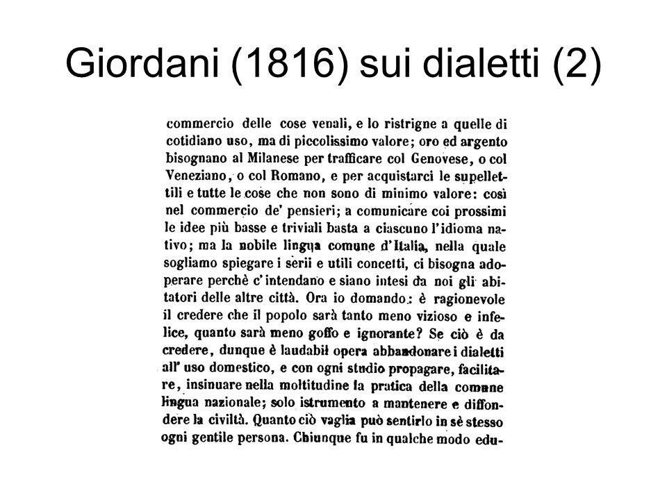 Giordani (1816) sui dialetti (2)