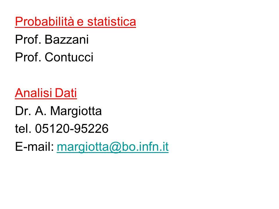 Probabilità e statistica Prof. Bazzani Prof. Contucci Analisi Dati Dr.
