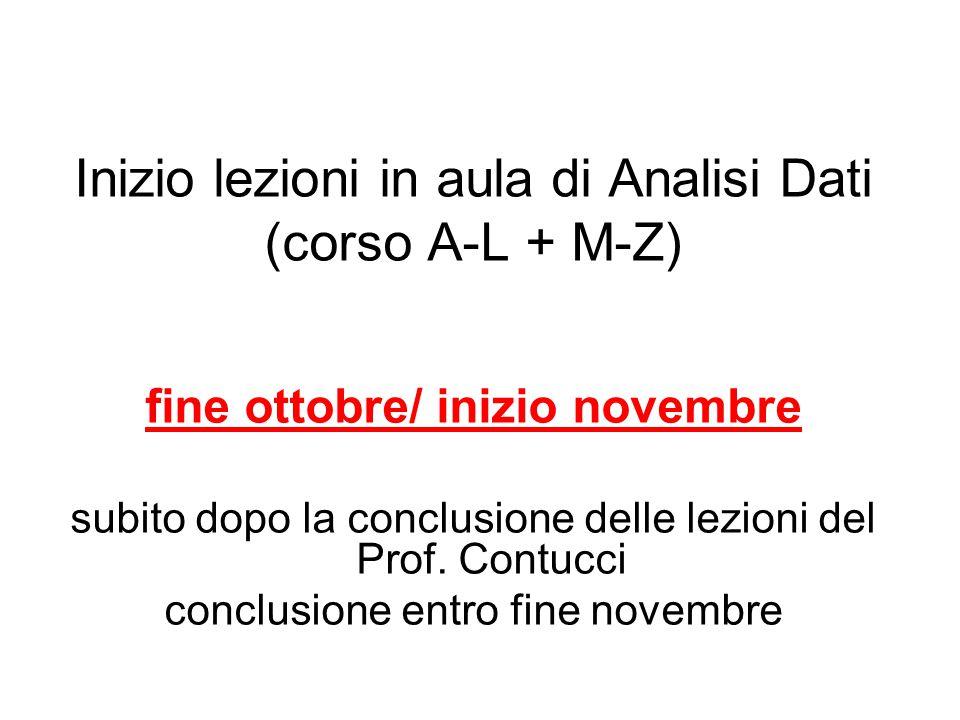 Inizio lezioni in aula di Analisi Dati (corso A-L + M-Z) fine ottobre/ inizio novembre subito dopo la conclusione delle lezioni del Prof.