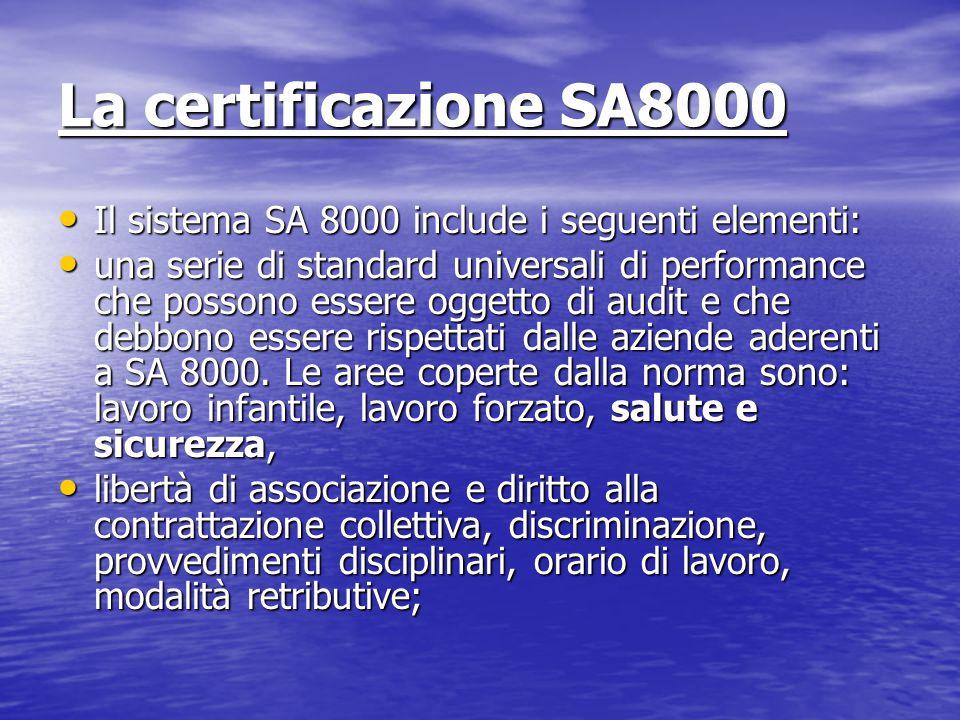 La certificazione SA8000 Il sistema SA 8000 include i seguenti elementi: Il sistema SA 8000 include i seguenti elementi: una serie di standard universali di performance che possono essere oggetto di audit e che debbono essere rispettati dalle aziende aderenti a SA 8000.