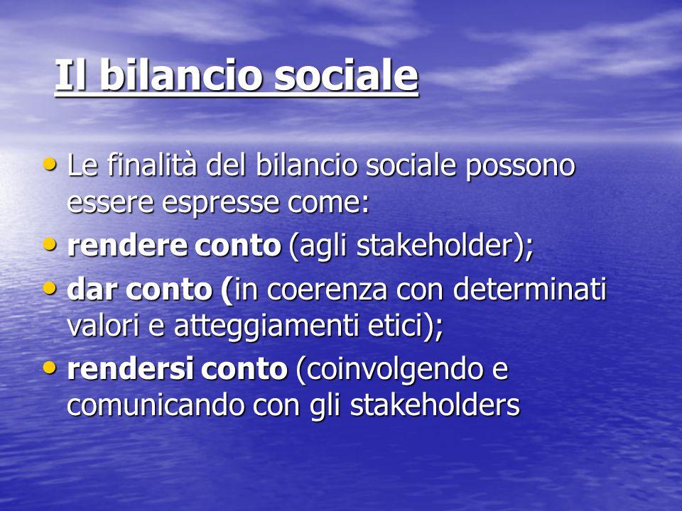 Il bilancio sociale Il bilancio sociale Le finalità del bilancio sociale possono essere espresse come: Le finalità del bilancio sociale possono essere espresse come: rendere conto (agli stakeholder); rendere conto (agli stakeholder); dar conto (in coerenza con determinati valori e atteggiamenti etici); dar conto (in coerenza con determinati valori e atteggiamenti etici); rendersi conto (coinvolgendo e comunicando con gli stakeholders rendersi conto (coinvolgendo e comunicando con gli stakeholders