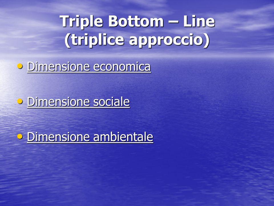 Triple Bottom – Line (triplice approccio) Dimensione economica Dimensione economica Dimensione sociale Dimensione sociale Dimensione ambientale Dimensione ambientale