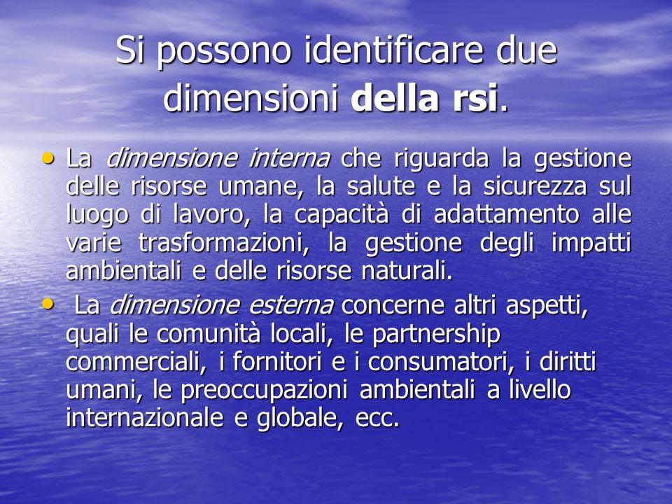 Si possono identificare due dimensioni della rsi.