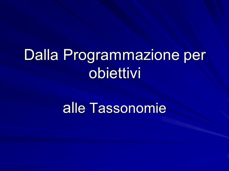 Dalla Programmazione per obiettivi al le Tassonomie