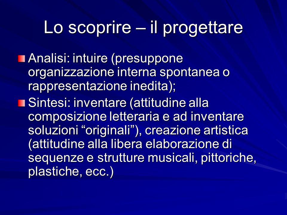 Lo scoprire – il progettare Analisi: intuire (presuppone organizzazione interna spontanea o rappresentazione inedita); Sintesi: inventare (attitudine