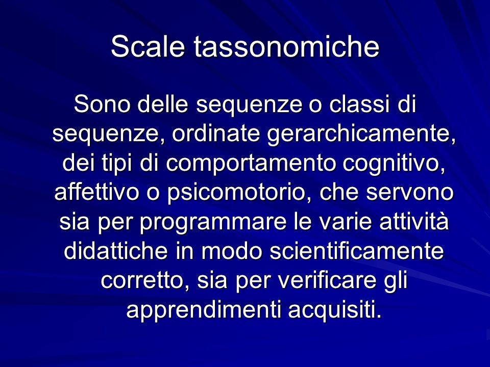 Scale tassonomiche Sono delle sequenze o classi di sequenze, ordinate gerarchicamente, dei tipi di comportamento cognitivo, affettivo o psicomotorio,