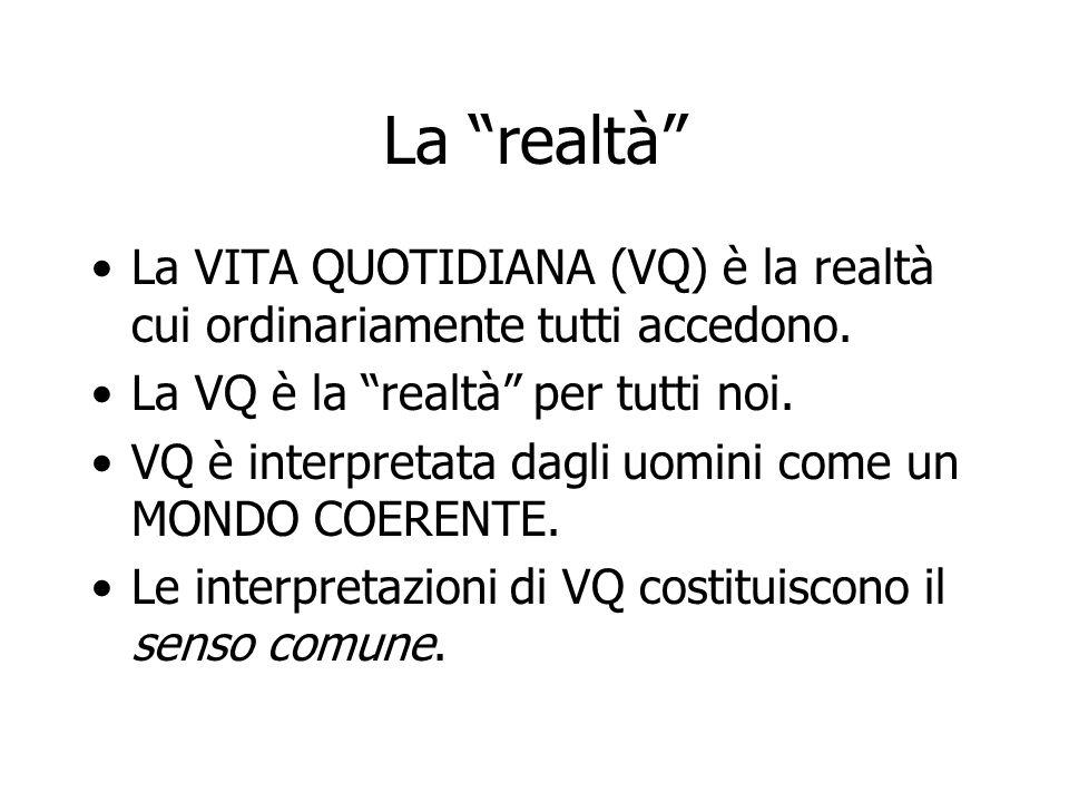 """La """"realtà"""" La VITA QUOTIDIANA (VQ) è la realtà cui ordinariamente tutti accedono. La VQ è la """"realtà"""" per tutti noi. VQ è interpretata dagli uomini c"""