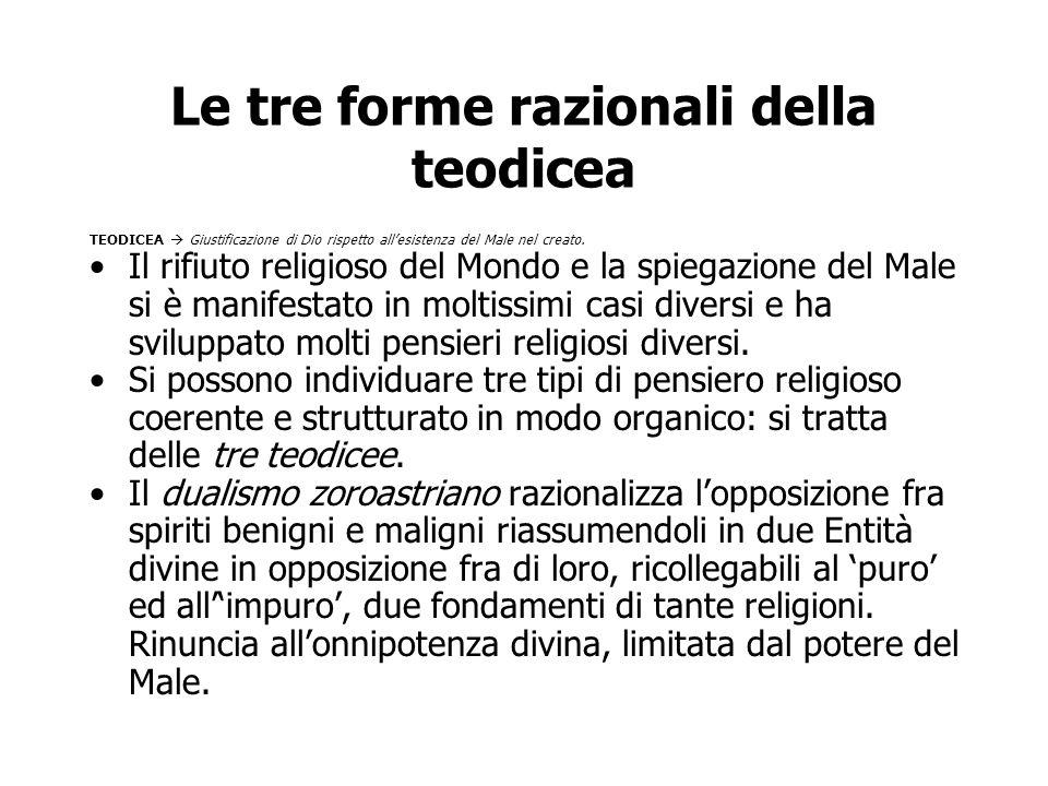 Le tre forme razionali della teodicea TEODICEA  Giustificazione di Dio rispetto all'esistenza del Male nel creato. Il rifiuto religioso del Mondo e l