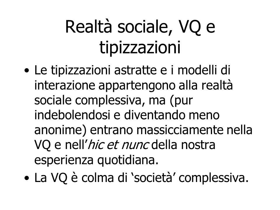 Realtà sociale, VQ e tipizzazioni Le tipizzazioni astratte e i modelli di interazione appartengono alla realtà sociale complessiva, ma (pur indebolend