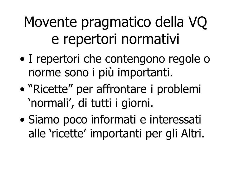 """Movente pragmatico della VQ e repertori normativi I repertori che contengono regole o norme sono i più importanti. """"Ricette"""" per affrontare i problemi"""