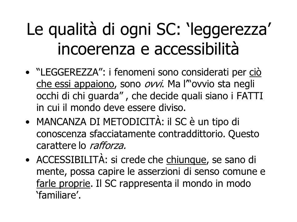 """Le qualità di ogni SC: 'leggerezza' incoerenza e accessibilità """"LEGGEREZZA"""": i fenomeni sono considerati per ciò che essi appaiono, sono ovvi. Ma l'""""o"""
