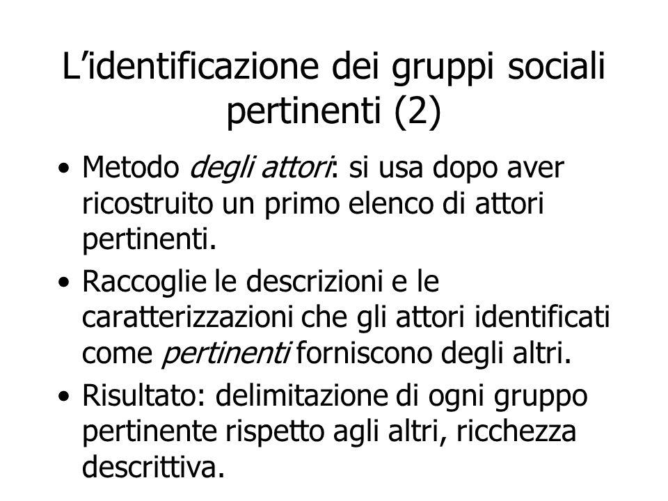 L'identificazione dei gruppi sociali pertinenti (2) Metodo degli attori: si usa dopo aver ricostruito un primo elenco di attori pertinenti. Raccoglie