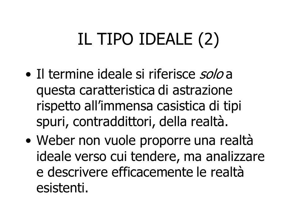 IL TIPO IDEALE (2) Il termine ideale si riferisce solo a questa caratteristica di astrazione rispetto all'immensa casistica di tipi spuri, contradditt