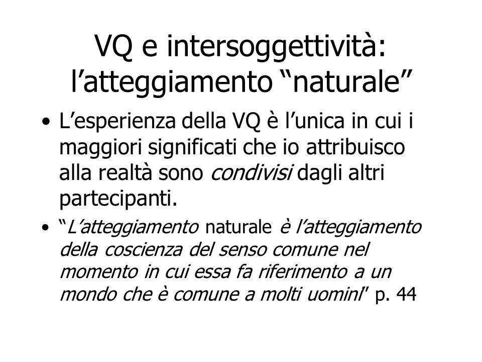 """VQ e intersoggettività: l'atteggiamento """"naturale"""" L'esperienza della VQ è l'unica in cui i maggiori significati che io attribuisco alla realtà sono c"""