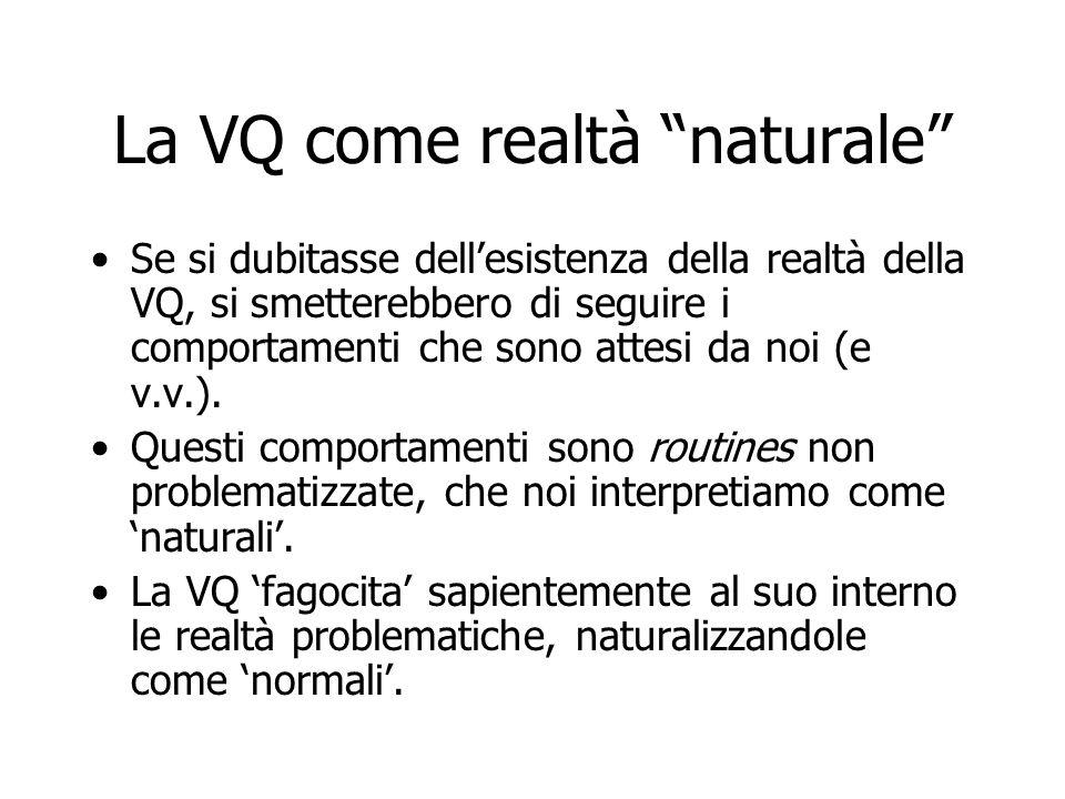 """La VQ come realtà """"naturale"""" Se si dubitasse dell'esistenza della realtà della VQ, si smetterebbero di seguire i comportamenti che sono attesi da noi"""