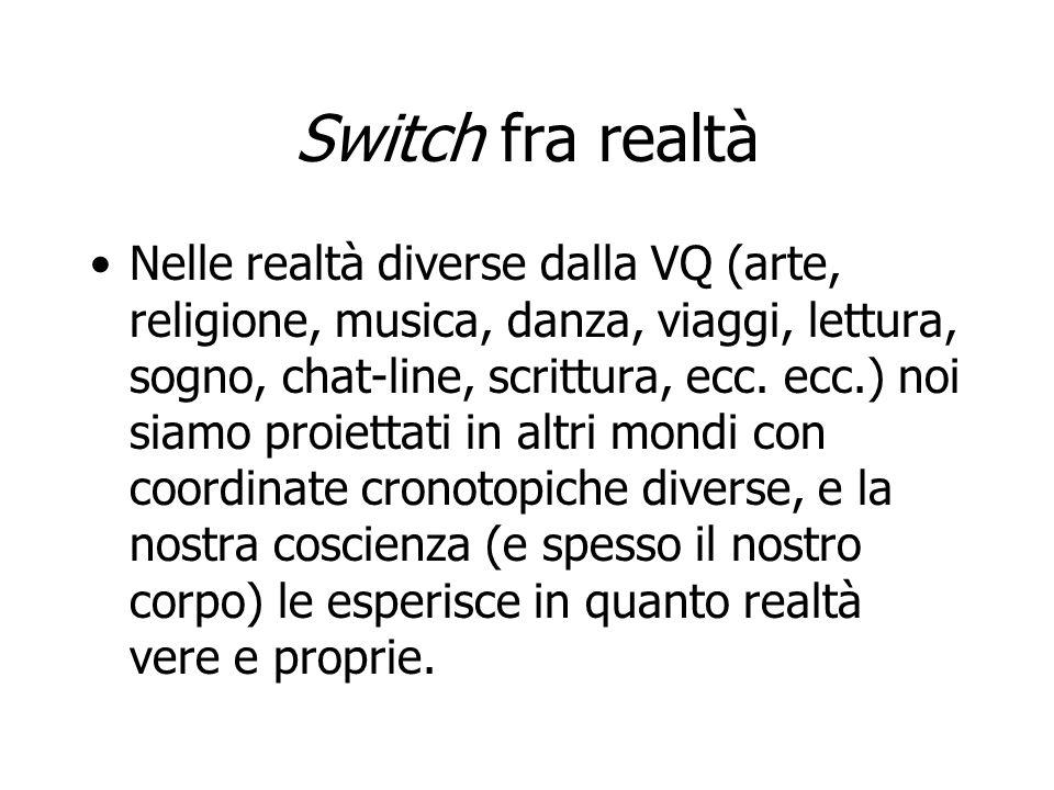Switch fra realtà Nelle realtà diverse dalla VQ (arte, religione, musica, danza, viaggi, lettura, sogno, chat-line, scrittura, ecc. ecc.) noi siamo pr