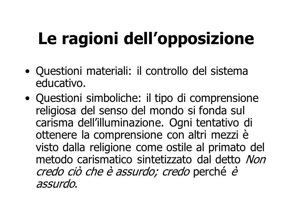 Le ragioni dell'opposizione Questioni materiali: il controllo del sistema educativo. Questioni simboliche: il tipo di comprensione religiosa del senso